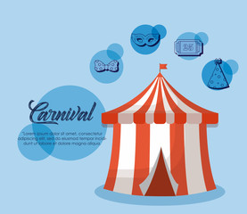 Infographic design of Circus carnival concept with circus tent and related icons over blue background, colorful design vector illustration