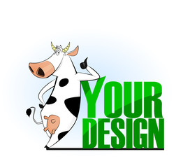 Cartoon cow emblem for logo your design