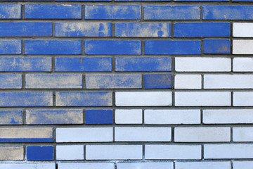 blue white brick wall, background