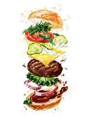 Traditional hamburger. Watercolor Illustration.