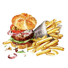 Angus burger with fries. Watercolor Illustration.