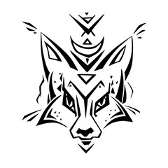 Tribal pattern Fox. Polynesian tattoo style. Vector illustration