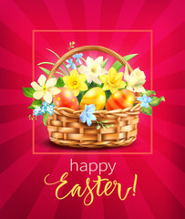 Greeting card with Easter basket. Vector illustration.