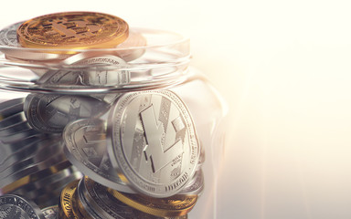 Litecoin, Bitcoin and other cryptocurrencies in a jar. Good habits in storing your cryptocurrencies. 3D rendering