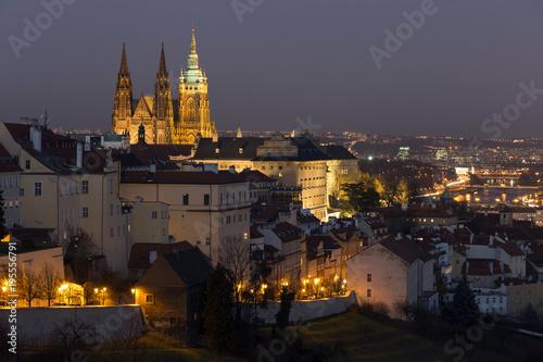 Winter Night Prague City With Gothic Castle Czech Republic