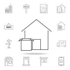 warehouse icon isolated on white background. Set of sale real estate element icons. Premium quality graphic design. Signs, outline symbols collection icon for websites, web design