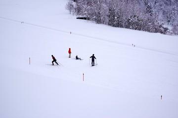 スキー場でスキーの練習をする人たち