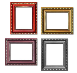 Set of empty picture frames with free space inside, isolated on white