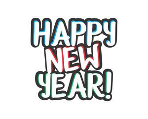 happy new year typography typographic creative writing text image icon 3