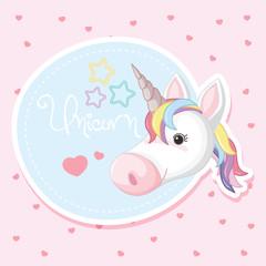 Background design with cute unicorn