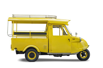 "Vintage yellow auto rickshaw taxi, thailand native taxi call ""tuk-tuk"", Isolated on white background, Clipping path included"