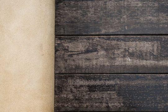 top wooden and cement floor. wood texture for background