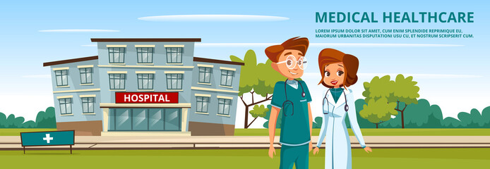 Vector cartoon male female doctor, nurse hospital background, healthcare medicine services advertising poster template. Surgeon man in green uniform with stethoscope, physician woman in white.