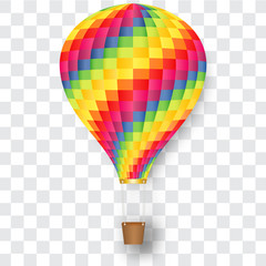 Rainbow hot air balloon isolated on transp background as paper art and craft style concept. vector illustration.