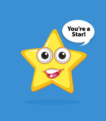 Yellow star with happy face on blue background