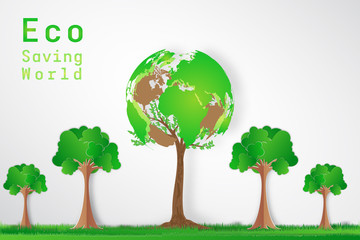 Green world and tree as nature , environment conservation , Eco and saving the earth day concept. Vector illustration.