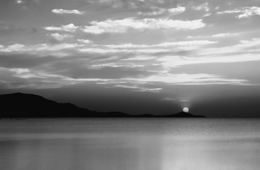 black and white  sea and sky  in sunset  ,the beach landscape background