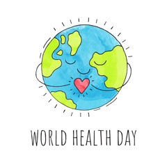 World health day. Planet Earth with a heart. Hand drawn illustration. Vector background