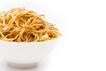 Chow Mein Noodles on a White Background