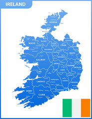 The detailed map of the Ireland with regions or states and cities, capitals, national flag
