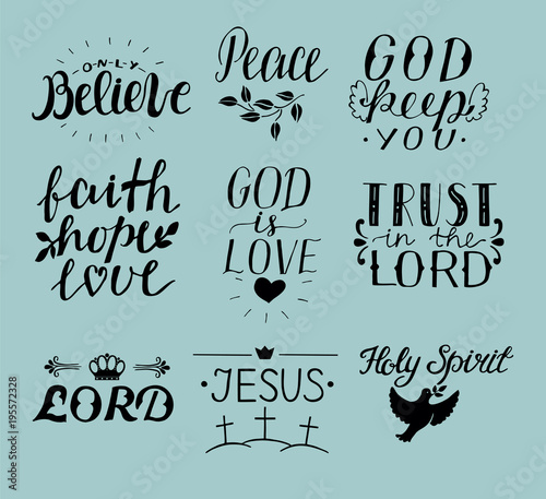 Amazing Set Of 9 Hand Lettering Christian Quotes Jesus. Holy Spirit. Trust The Lord.