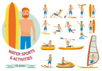 Summer water beach sports, activities set. Man windsurfing, surfing, jet water skiing, paddleboarding, tubing, parasailing, wakeboarding, kitesurfing, Vector cartoon character set flat illustration.