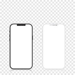 New version of black and white slim smartphone similar to with blank white screen. Realistic vector illustration.