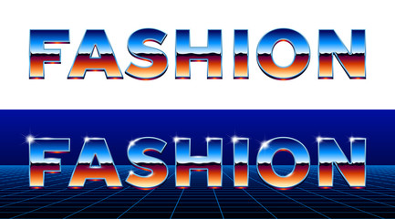 80s styled chrome fashion lettering with metallic type