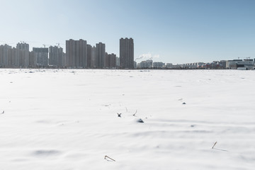 Cityscape after snow