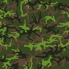 Military camouflage, texture repeats seamless. Camo Pattern for Army Clothing. Green, brown color, fabric hunting. Vector illustration.