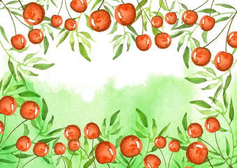 A watercolor postcard, a linear border, a background with a place for your inscription and design. Drawing - a berry a cherry, green branches, plants. Beautiful card with vintage pattern.