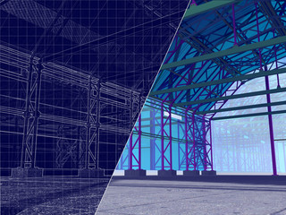 3D rendering and blueprint. The project hangar, warehouse, garage with glazing. Drawing on a blue background.