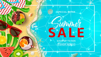 Promo web banner template for summer sale