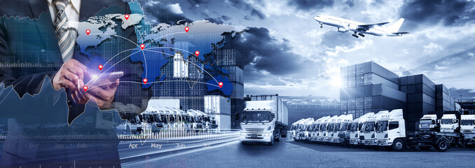 World map with logistic network distribution, Logistic and transport concept in front Industrial Container Cargo freight ship for Concept of fast or instant shipping, Online goods orders worldwide Wall mural