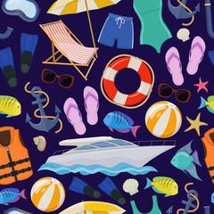 Seamless pattern of beach summer holidays accessories, cartoon illustration. Vector