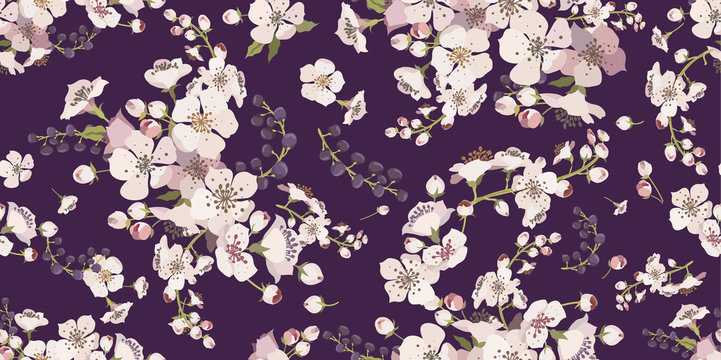 Floral seamless pattern with flowering branches. Background for textile, manufacturing, book covers, wallpapers, print or gift wrap. Spring flowers on a purple background. Vector illustration.