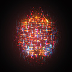 vector bright glowing ball on a dark background. chaotic rays