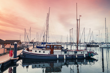 Old pleasure boat and Sailing yachts