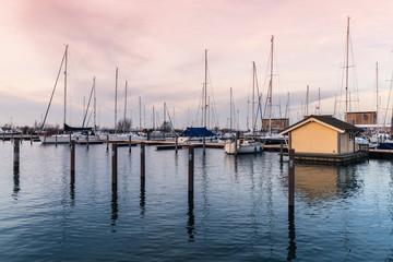 Sailing yachts moored in  marina, Amsterdam