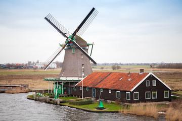 Windmill in Zaanse Schans historic town