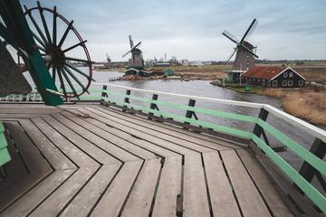 Windmills on coast of Zaan river, Netherlands