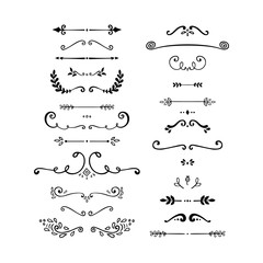 Set of vintage decorative elements. Black and white vector illustration isolated on white background.