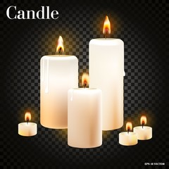 Realistic set of burning candles on transparent background, realistic vector illustration