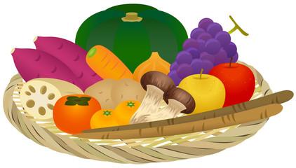 ザル盛り合わせ(秋の野菜とフルーツ)