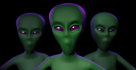 Three Aliens heads on dark violet background - 3d illustration