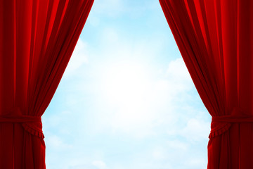 Red curtain on heavenly sky background