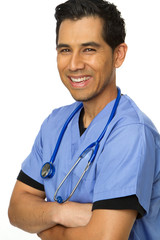 Friendly Hispanic nurse or doctor smiling.
