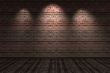 Dark interior with brick wall and wood floor dark room with three light - 3d illustration