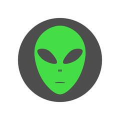 Alien face emoji. Martian head icon. Vector.