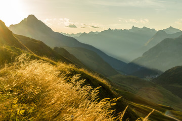 Wall Mural - Beautiful sunrise and layered mountain silhouettes in early morning. Lechtal and Allgau Alps, Bavaria and Austria.